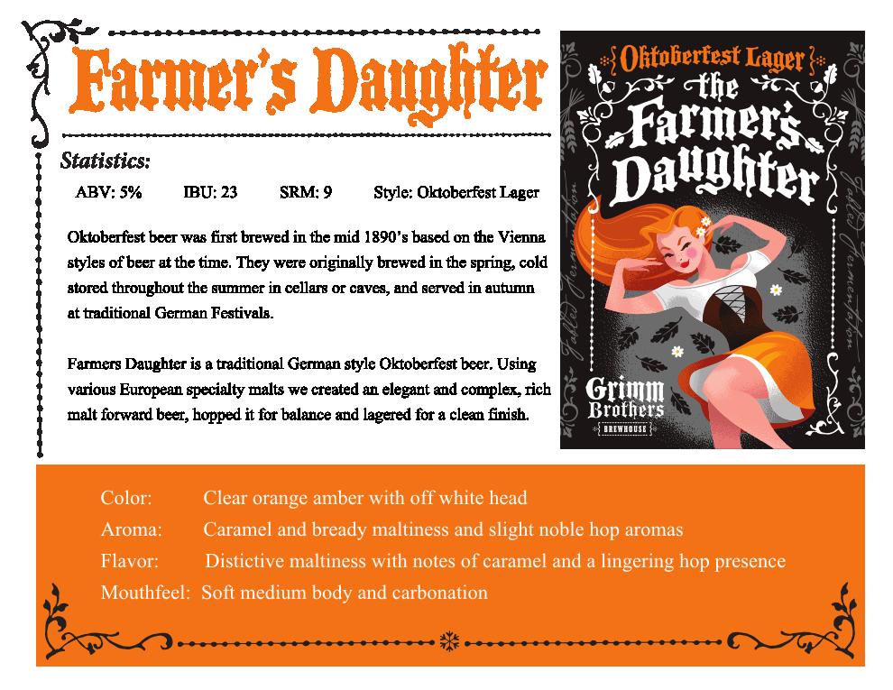 Farmer's Daughter sales sheet