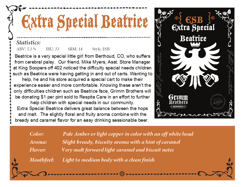 Extra Special Beatrice sales sheet