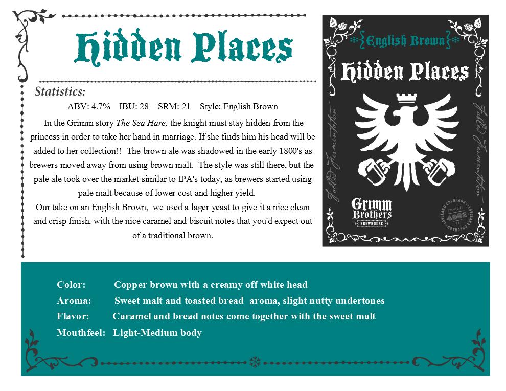 HIdden Places sales sheet